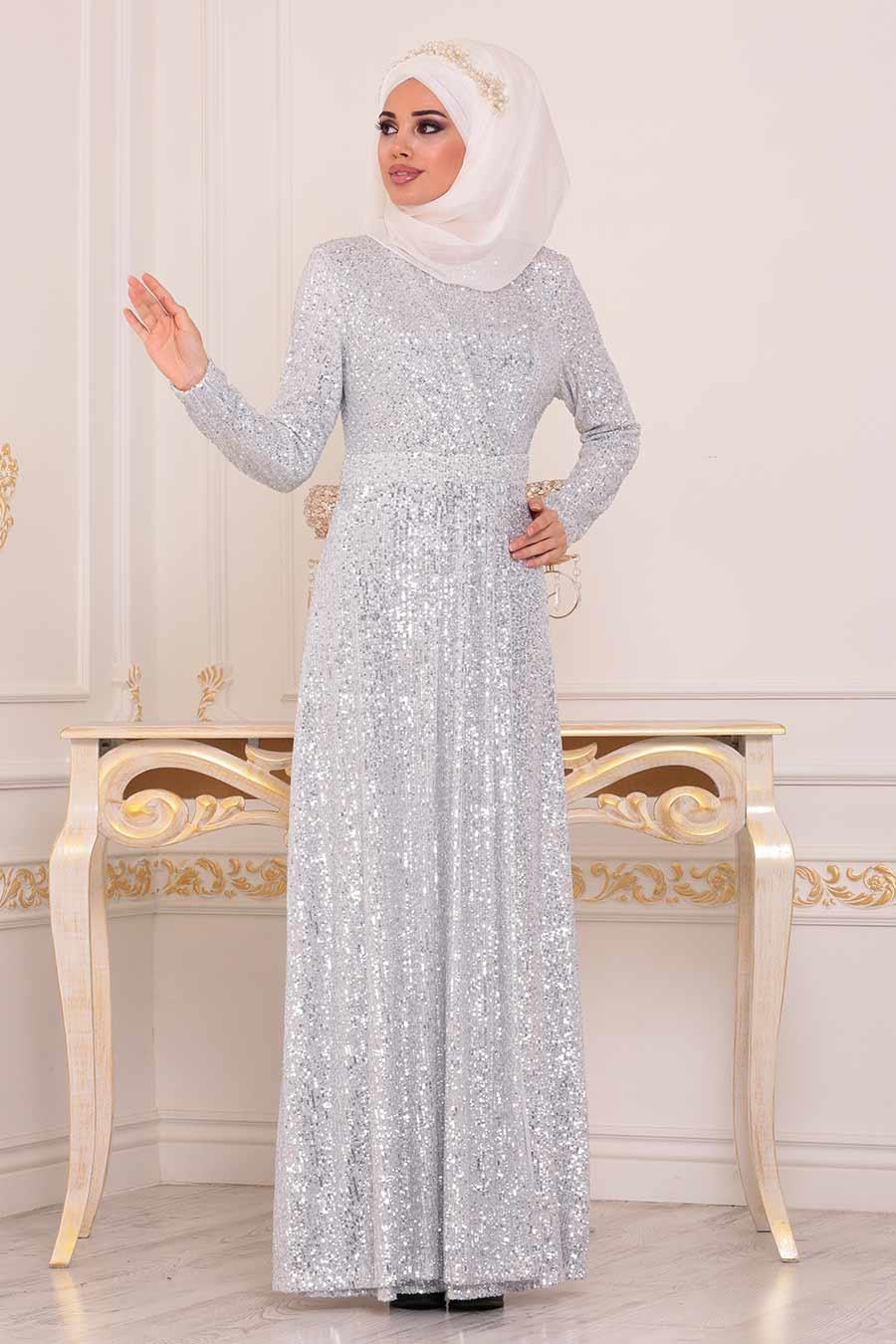 Tesettürlü Abiye Elbise - Pul Payetli Ekru Tesettür Abiye Elbise 8582E