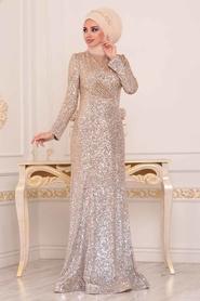 Tesettürlü Abiye Elbise - Pul Payetli Gold Tesettür Abiye Elbise 2106GOLD - Thumbnail