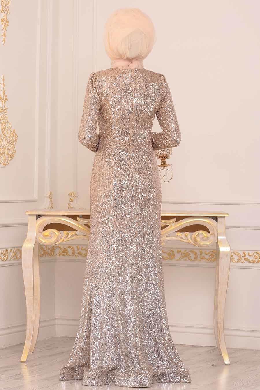 Tesettürlü Abiye Elbise - Pul Payetli Gold Tesettür Abiye Elbise 2106GOLD