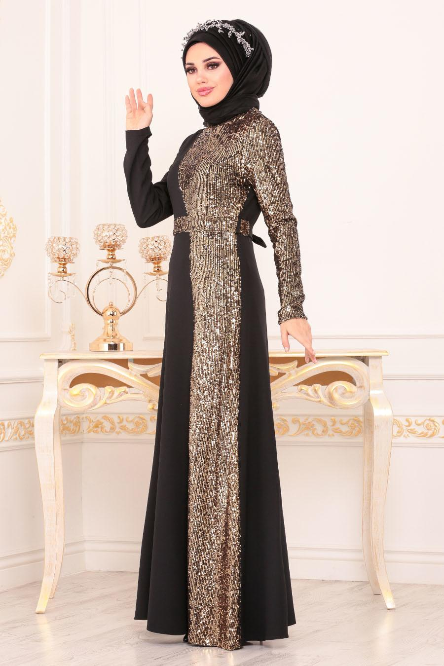 Tesettürlü Abiye Elbise - Pul Payetli Gold Tesettür Abiye Elbise 8611GOLD