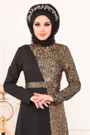 Tesettürlü Abiye Elbise - Pul Payetli Gold Tesettür Abiye Elbise 8611GOLD - Thumbnail