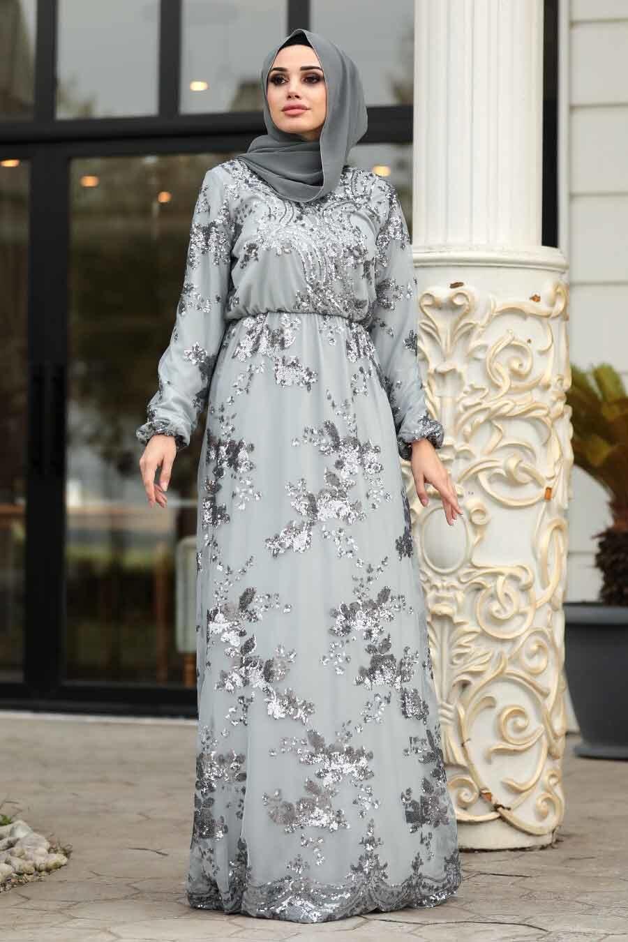 Tesettürlü Abiye Elbise - Pul Payetli Gri Tesettür Abiye Elbise 11027GR