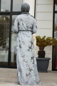 Tesettürlü Abiye Elbise - Pul Payetli Gri Tesettür Abiye Elbise 11027GR - Thumbnail