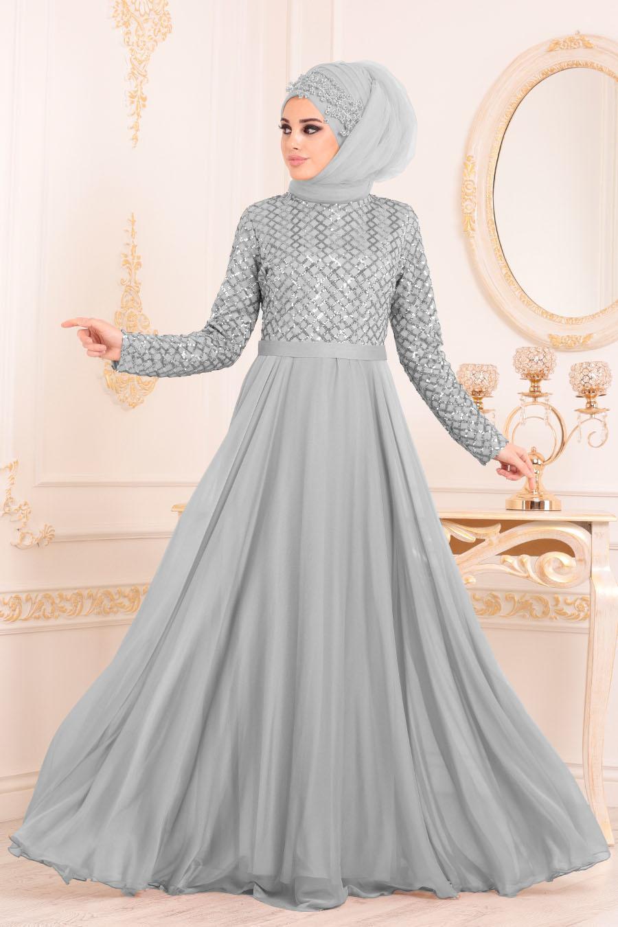 Tesettürlü Abiye Elbise - Pul Payetli Gri Tesettür Abiye Elbise 8127GR