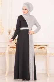 Tesettürlü Abiye Elbise - Pul Payetli Gri Tesettür Abiye Elbise 8611GR - Thumbnail
