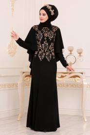 Tesettürlü Abiye Elbise - Pul Payetli Kolları Pelerinli Siyah Tesettür Abiye Elbise 81201S - Thumbnail