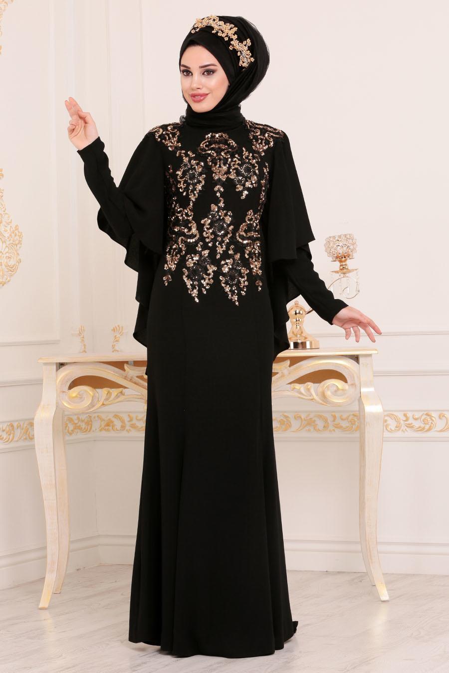 Tesettürlü Abiye Elbise - Pul Payetli Kolları Pelerinli Siyah Tesettür Abiye Elbise 81201S