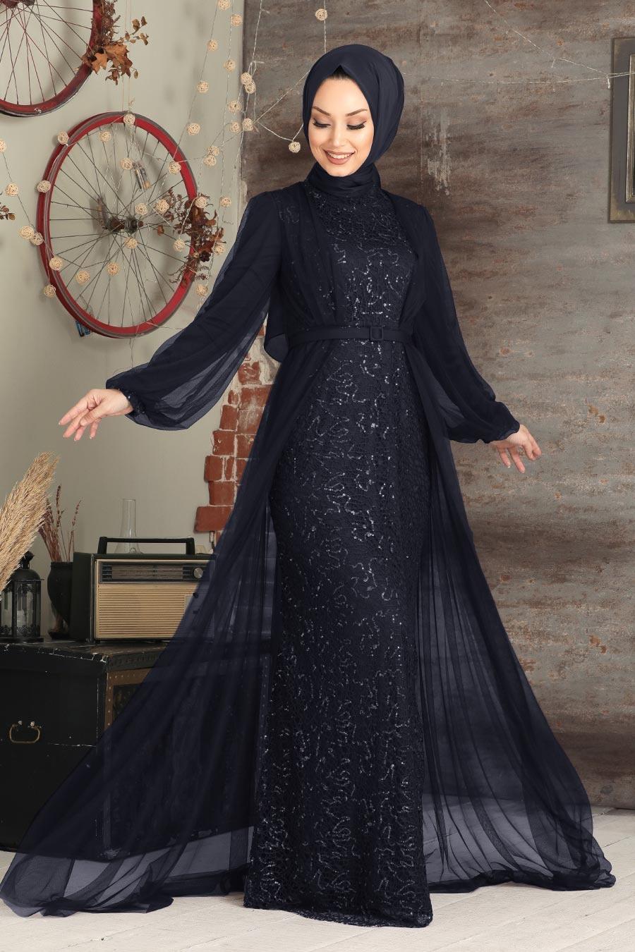 Tesettürlü Abiye Elbise - Pul Payetli Lacivert Tesettür Abiye Elbise 5383L