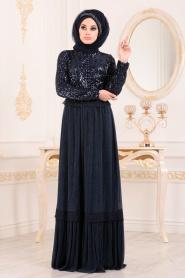 Tesettürlü Abiye Elbise - Pul Payetli Lacivert Tesettür Abiye Elbise 8532L - Thumbnail