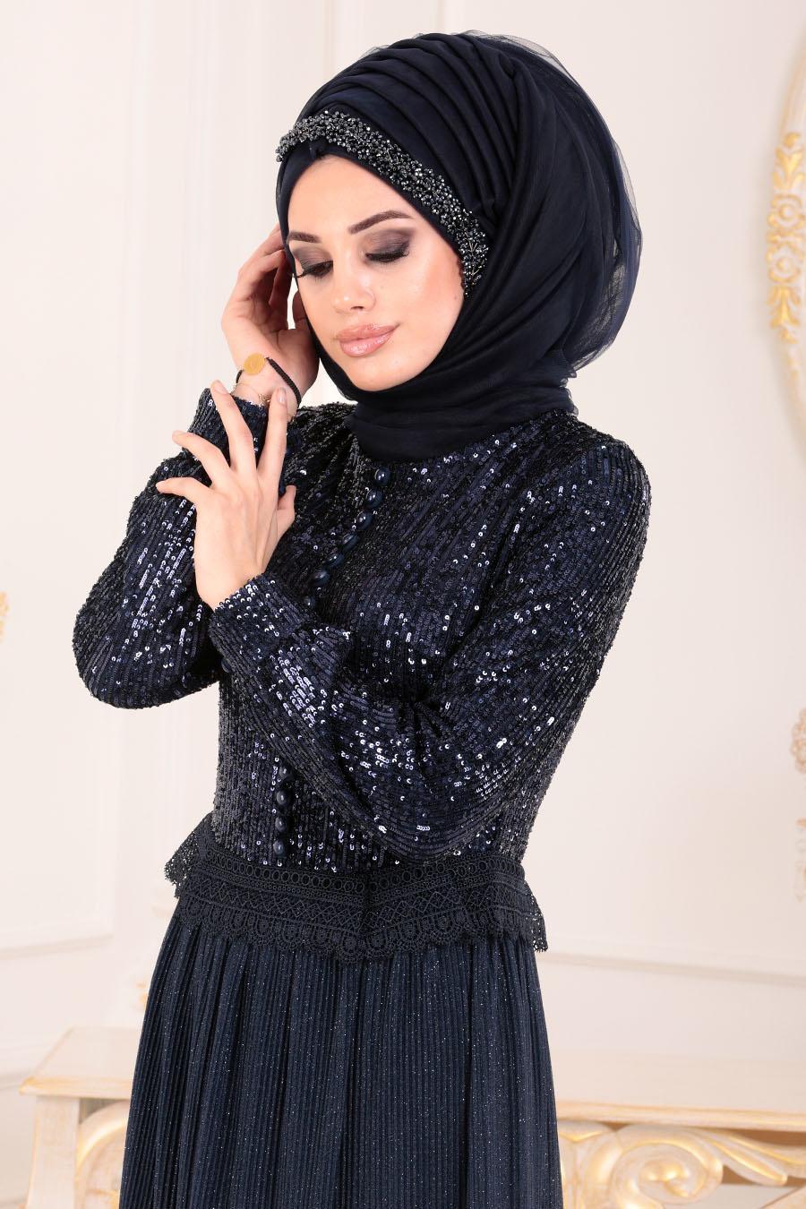 Tesettürlü Abiye Elbise - Pul Payetli Lacivert Tesettür Abiye Elbise 8532L