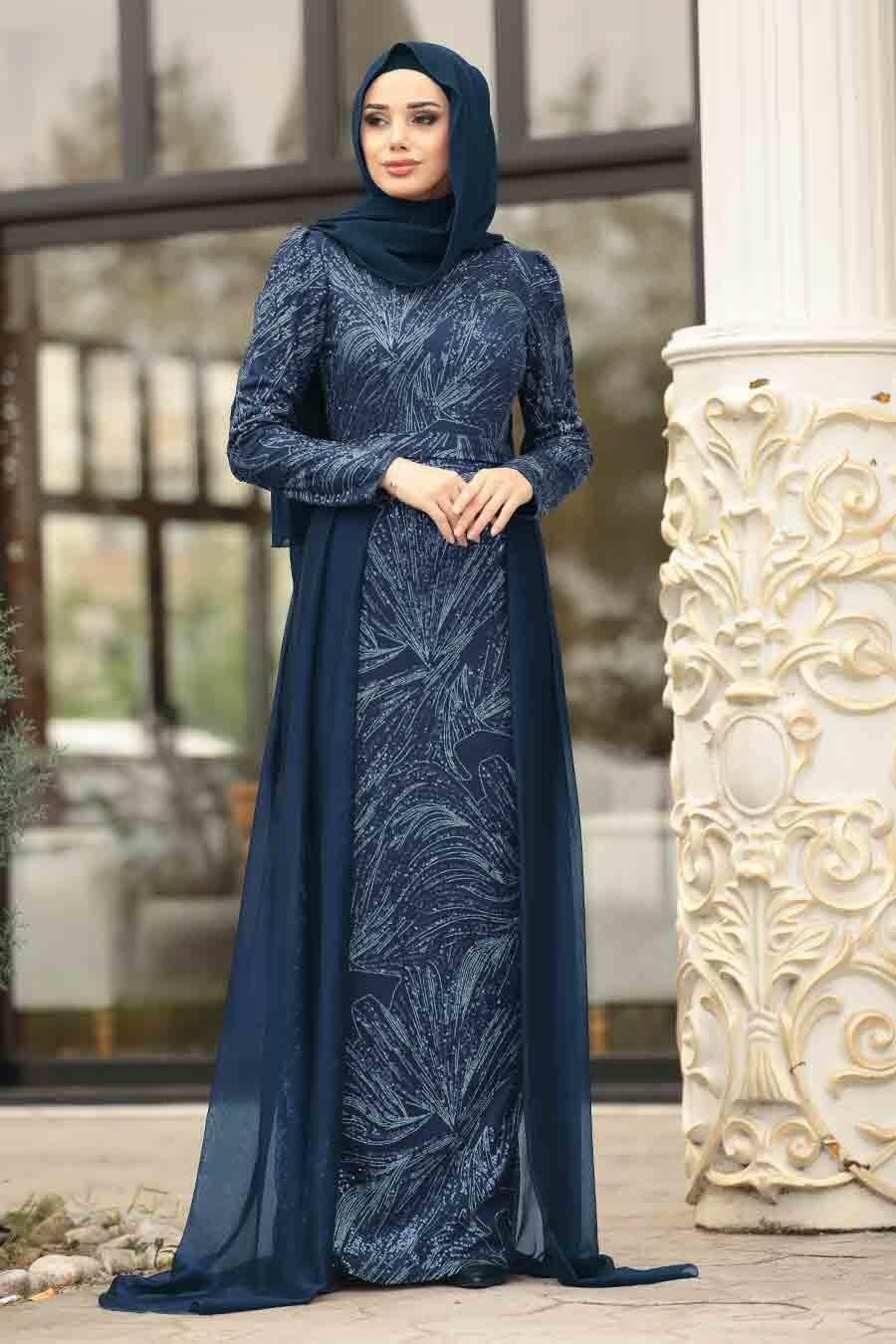 Tesettürlü Abiye Elbise - Pul Payetli Lacivert Tesettürlü Abiye Elbise 196711L