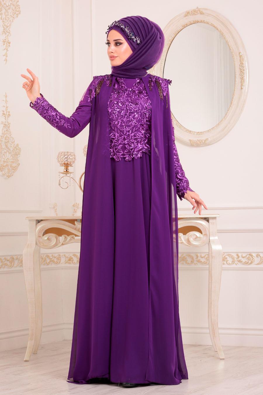 Tesettürlü Abiye Elbise - Pul Payetli Mor Tesettür Abiye Elbise 85250MOR