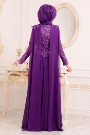 Tesettürlü Abiye Elbise - Pul Payetli Mor Tesettür Abiye Elbise 85250MOR - Thumbnail