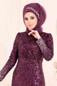 Tesettürlü Abiye Elbise - Pul Payetli Mürdüm Tesettür Abiye Elbise 2106MU - Thumbnail