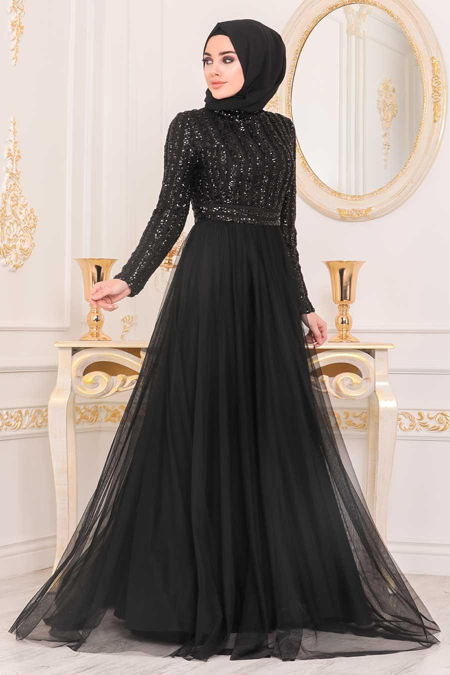 Tesettürlü Abiye Elbise - Pul Payetli Siyah Tesettür Abiye Elbise 5338S