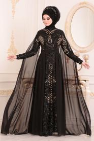 Tesettürlü Abiye Elbise - Pul Payetli Siyah Tesettür Abiye Elbise 85130S - Thumbnail
