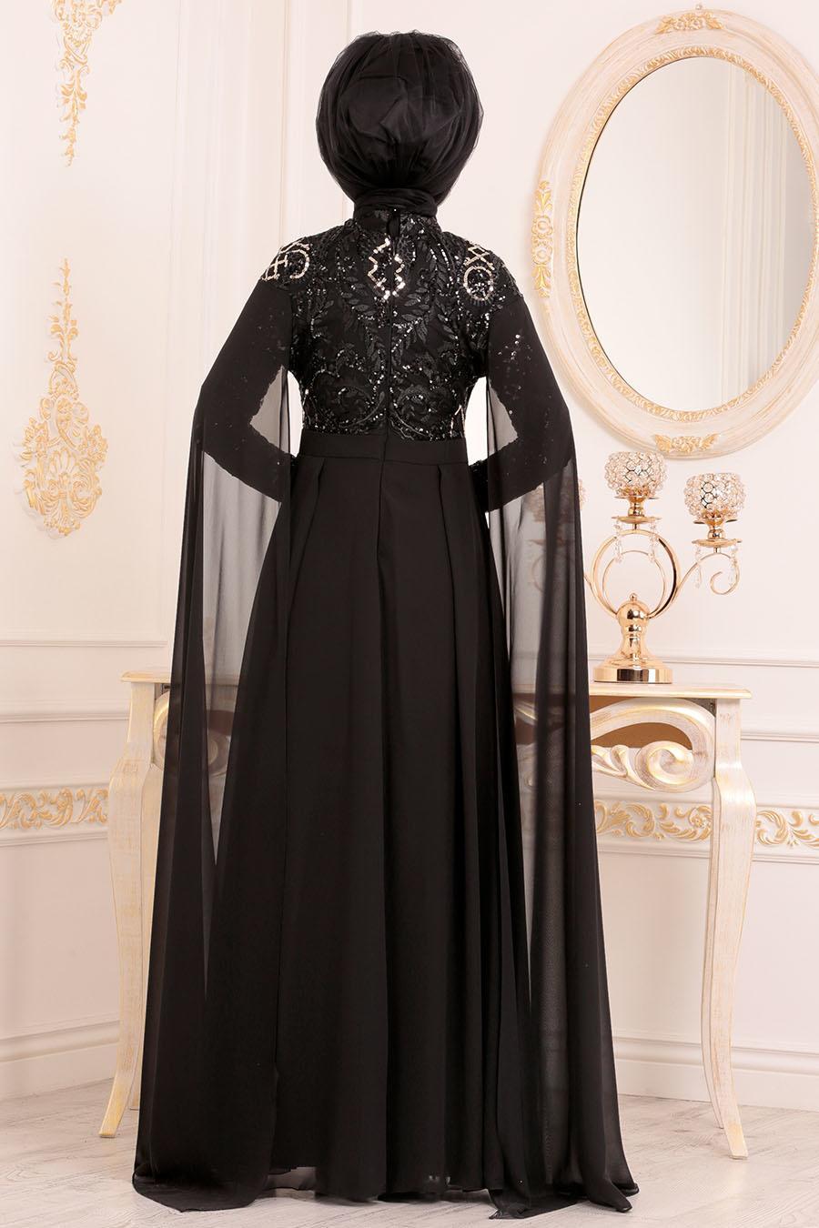 Tesettürlü Abiye Elbise - Pul Payetli Siyah Tesettür Abiye Elbise 85130S
