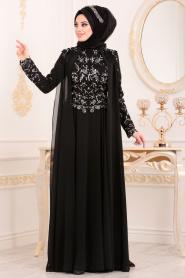 Tesettürlü Abiye Elbise - Pul Payetli Siyah Tesettür Abiye Elbise 85250S - Thumbnail