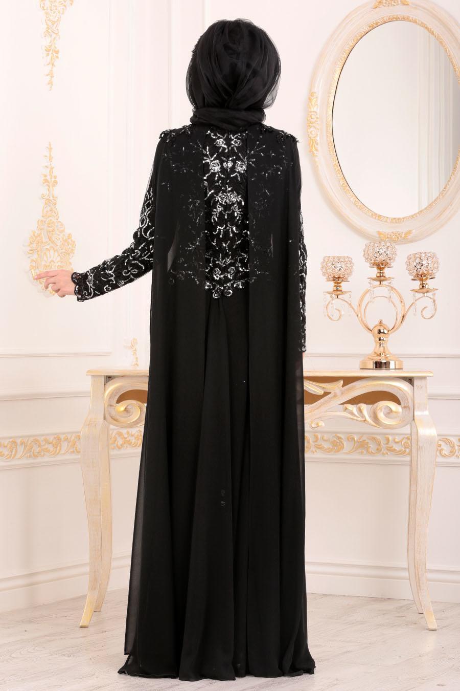 Tesettürlü Abiye Elbise - Pul Payetli Siyah Tesettür Abiye Elbise 85250S