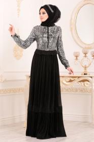 Tesettürlü Abiye Elbise - Pul Payetli Siyah Tesettür Abiye Elbise 8532S - Thumbnail