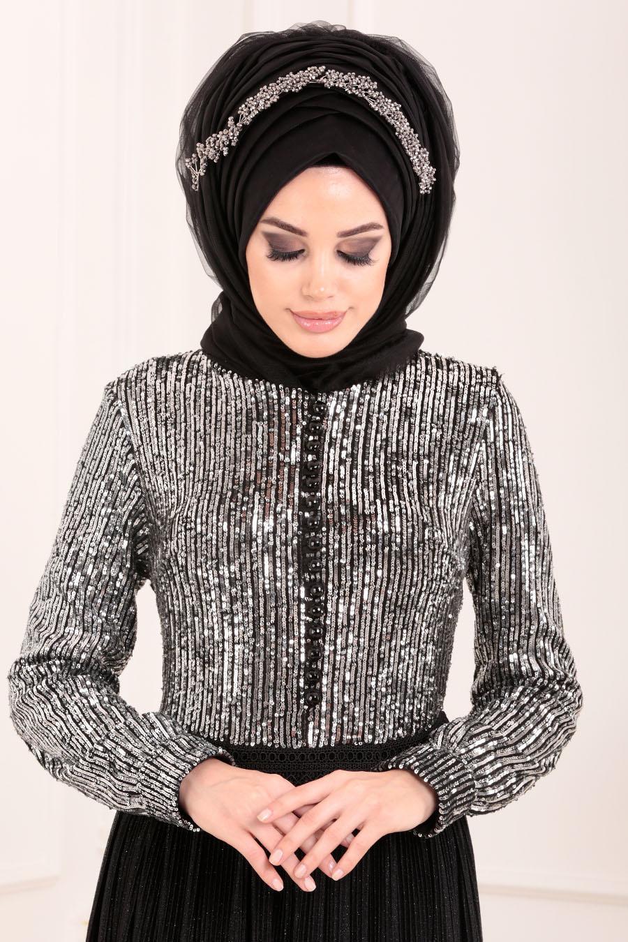 Tesettürlü Abiye Elbise - Pul Payetli Siyah Tesettür Abiye Elbise 8532S