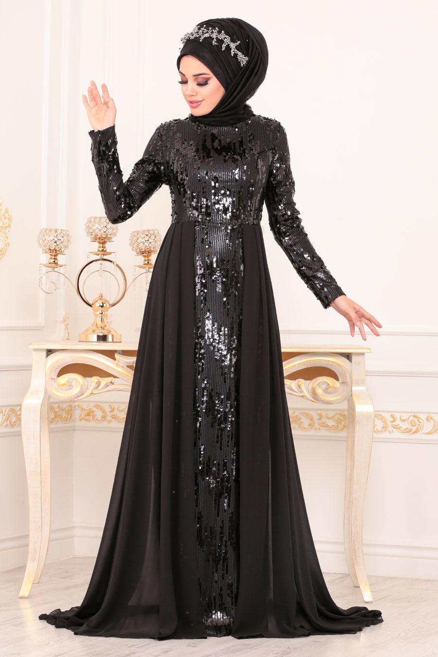 Tesettürlü Abiye Elbise - Pul Payetli Siyah Tesettür Abiye Elbise 8590S
