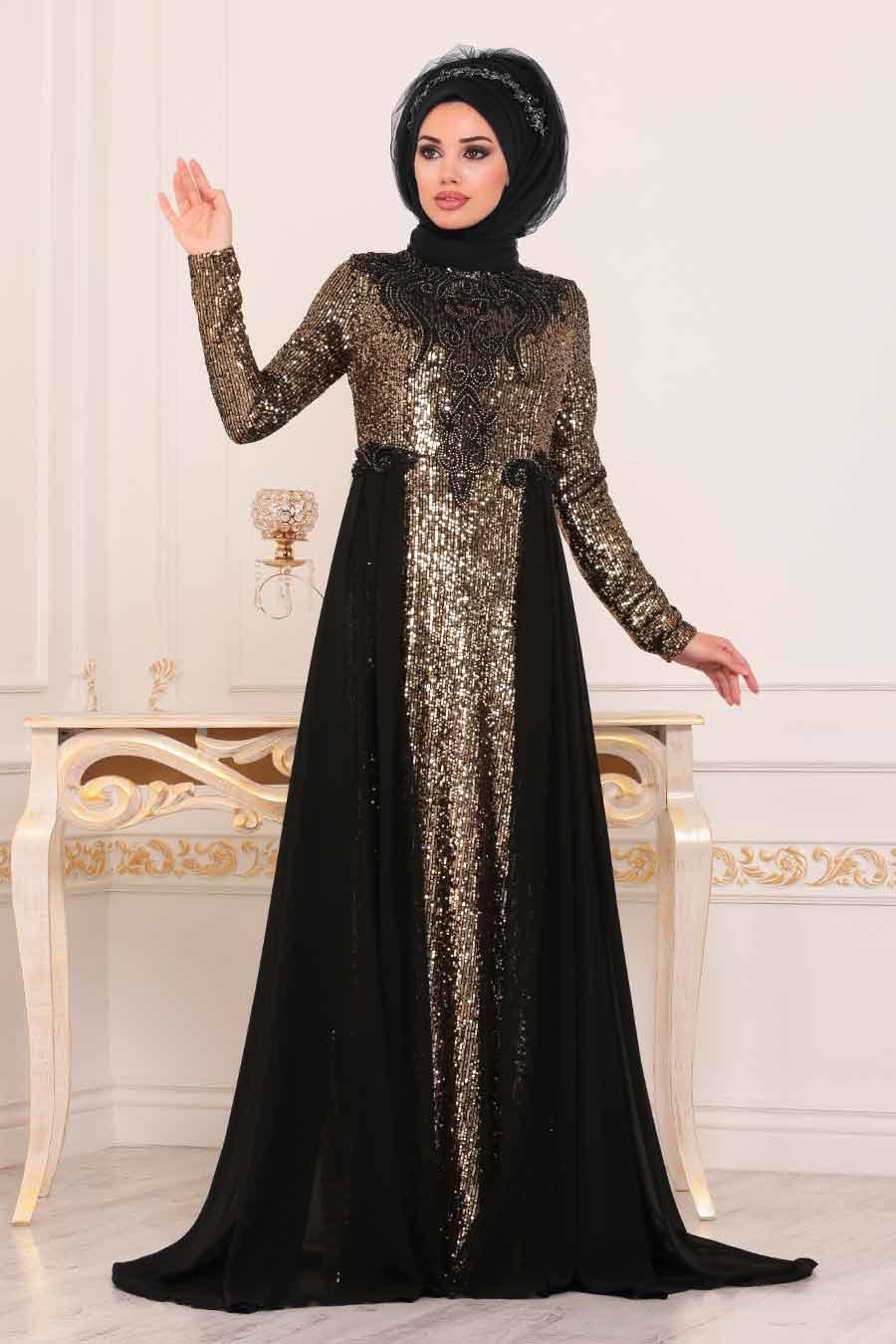 Tesettürlü Abiye Elbise - Pul Payetli Siyah Tesettür Abiye Elbise 8617S