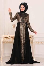 Tesettürlü Abiye Elbise - Pul Payetli Siyah Tesettür Abiye Elbise 8617S - Thumbnail