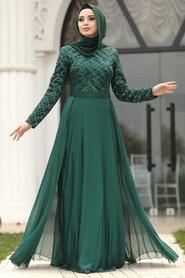 Tesettürlü Abiye Elbise - Pul Payetli Yeşil Tesettür Abiye Elbise 8127Y - Thumbnail