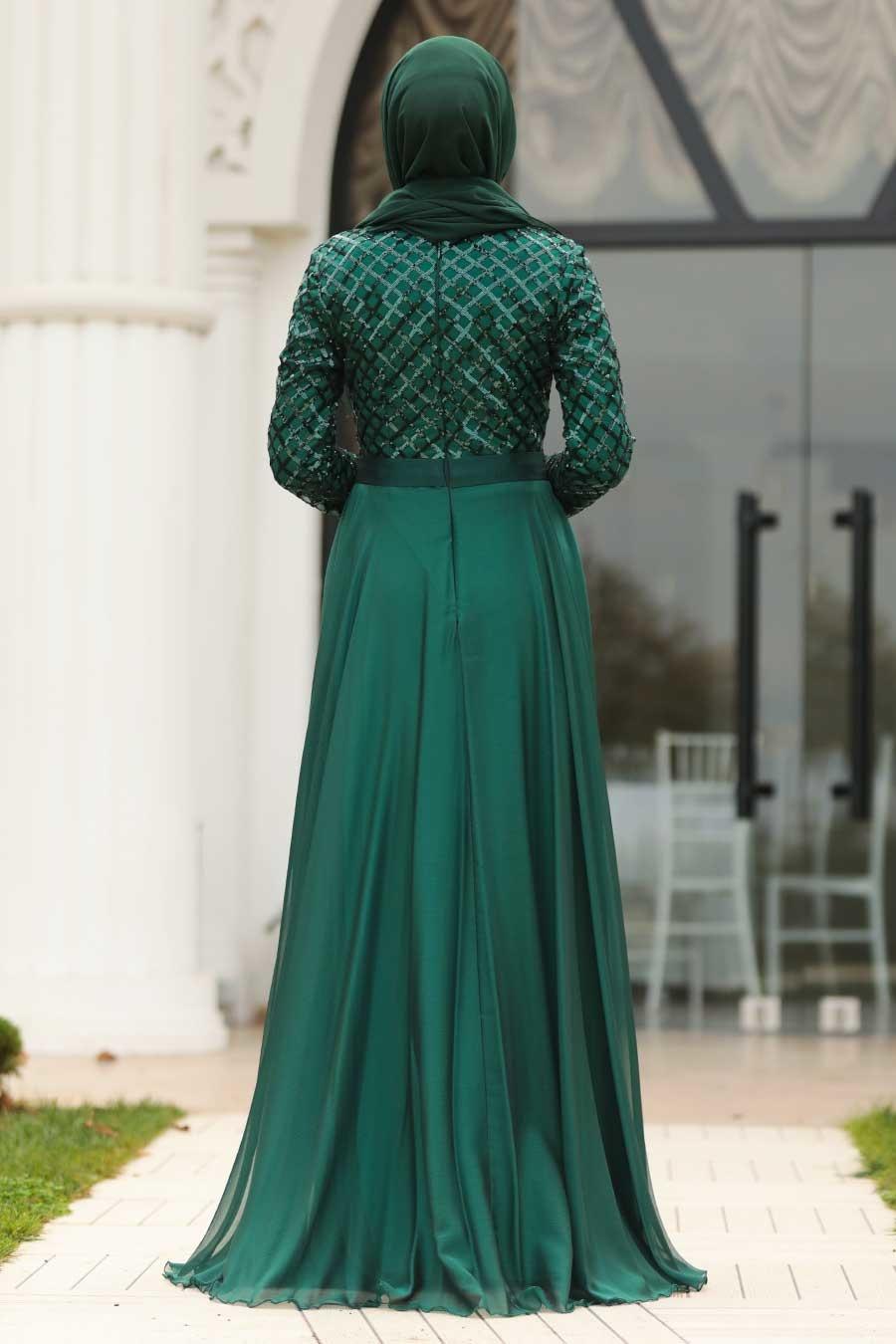 Tesettürlü Abiye Elbise - Pul Payetli Yeşil Tesettür Abiye Elbise 8127Y