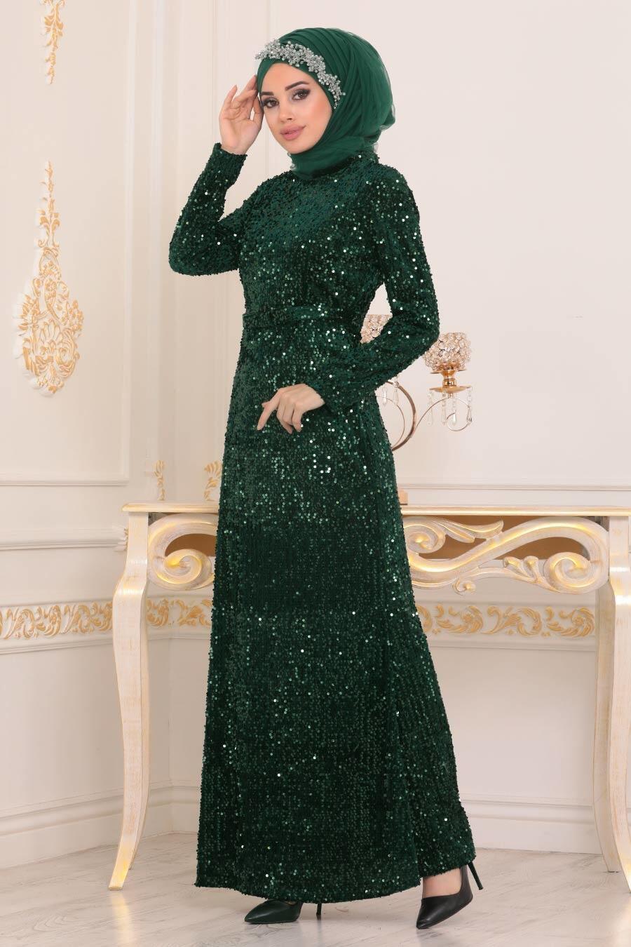 Tesettürlü Abiye Elbise - Pul Payetli Yeşil Tesettür Abiye Elbise 8727Y