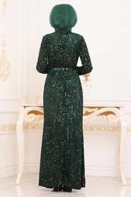 Tesettürlü Abiye Elbise - Pul Payetli Yeşil Tesettür Abiye Elbise 8727Y - Thumbnail