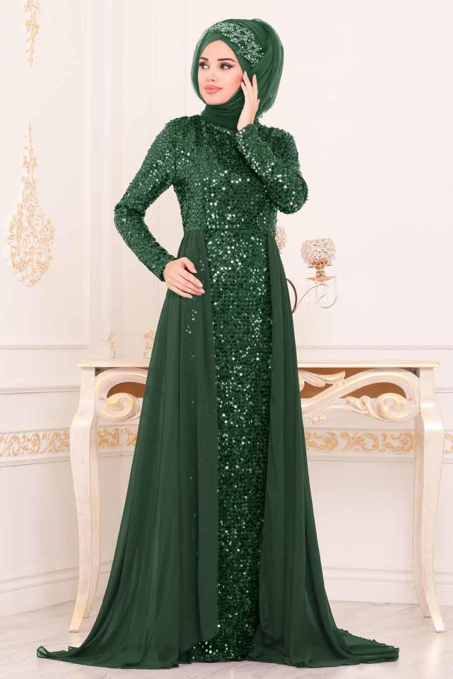 Tesettürlü Abiye Elbise - Pul Payetli Yeşil Tesettür Abiye Elbise 9112Y