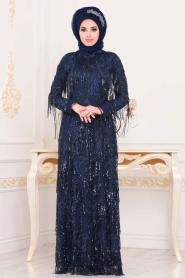 Tesettürlü Abiye Elbise - Pul Sarkıtmalı Lacivert Tesettür Abiye Elbise 3854L - Thumbnail