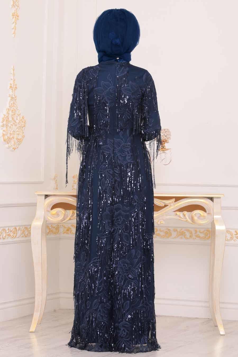 Tesettürlü Abiye Elbise - Pul Sarkıtmalı Lacivert Tesettür Abiye Elbise 3854L