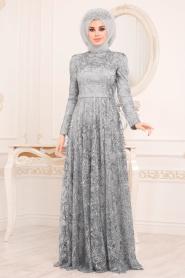 Tesettürlü Abiye Elbise - Pul & Sim Detaylı Gri Tesettür Abiye Elbise 2079GR - Thumbnail