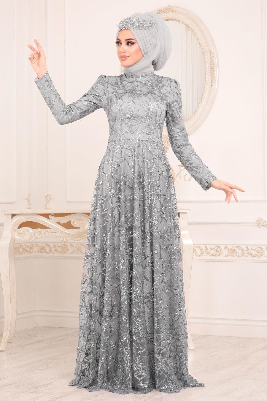 Tesettürlü Abiye Elbise - Pul & Sim Detaylı Gri Tesettür Abiye Elbise 2079GR