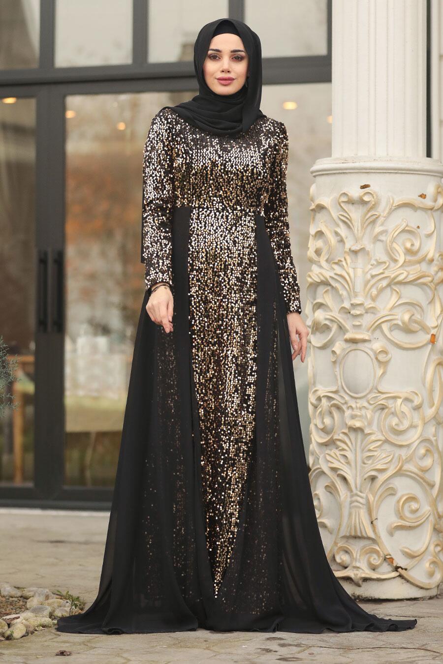 Tesettürlü Abiye Elbise - Pullu Gold Tesettür Abiye Elbise 8710GOLD