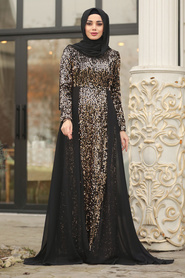 Tesettürlü Abiye Elbise - Pullu Gold Tesettür Abiye Elbise 8710GOLD - Thumbnail