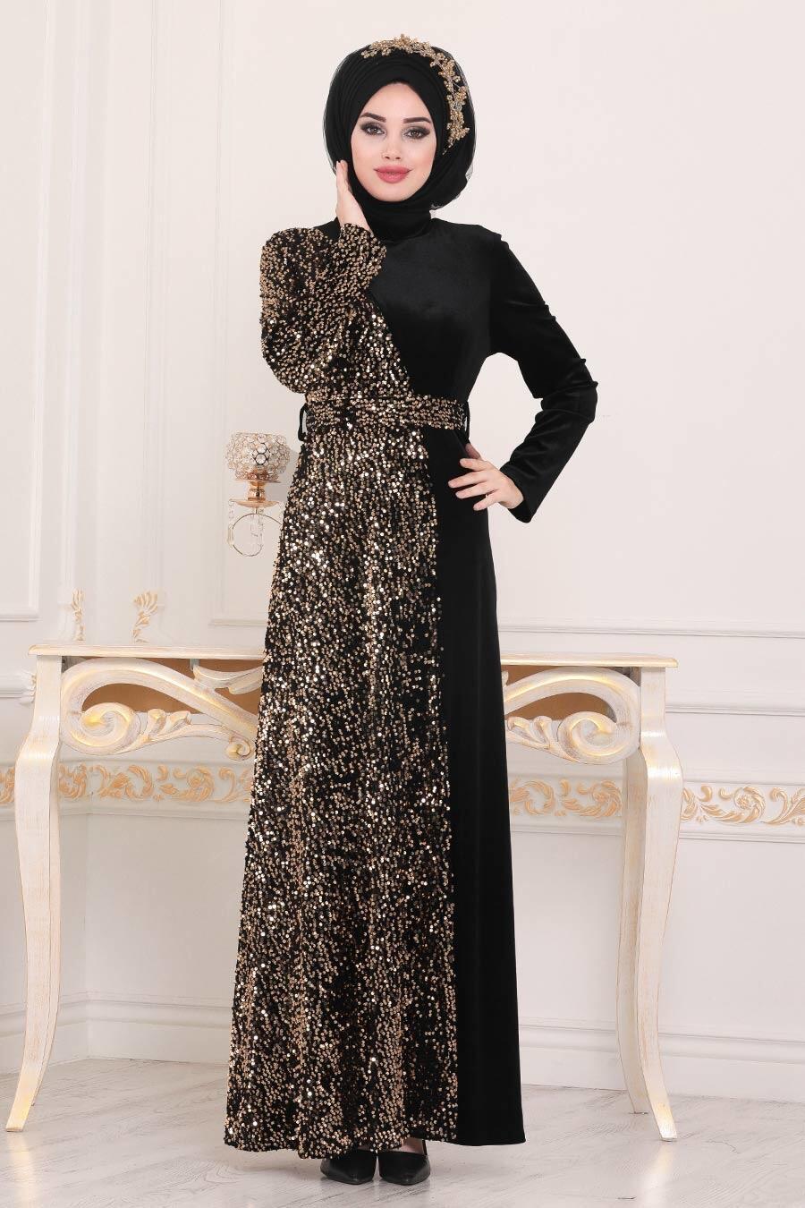 Tesettürlü Abiye Elbise - Pullu Gold Tesettür Kadife Abiye Elbise 8738GOLD