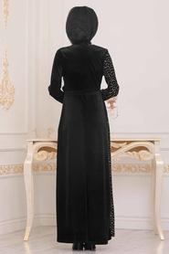 Tesettürlü Abiye Elbise - Pullu Gold Tesettür Kadife Abiye Elbise 8738GOLD - Thumbnail
