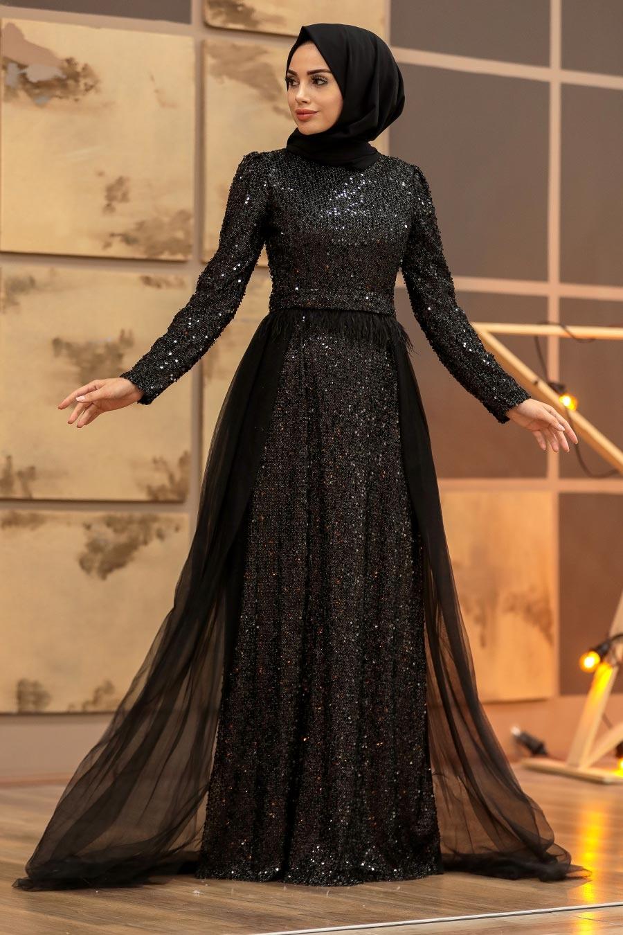 Tesettürlü Abiye Elbise - Pullu Siyah Tesettür Abiye Elbise 196713S