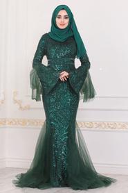 Tesettürlü Abiye Elbise - Pullu Yeşil Tesettür Abiye Elbise 22521Y - Thumbnail