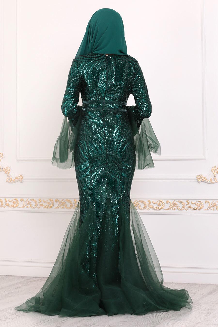 Tesettürlü Abiye Elbise - Pullu Yeşil Tesettür Abiye Elbise 22521Y