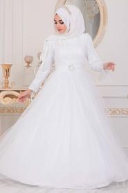 Tesettürlü Abiye Elbise - Püsküllü Beyaz Tesettür Abiye Elbise 40242B - Thumbnail