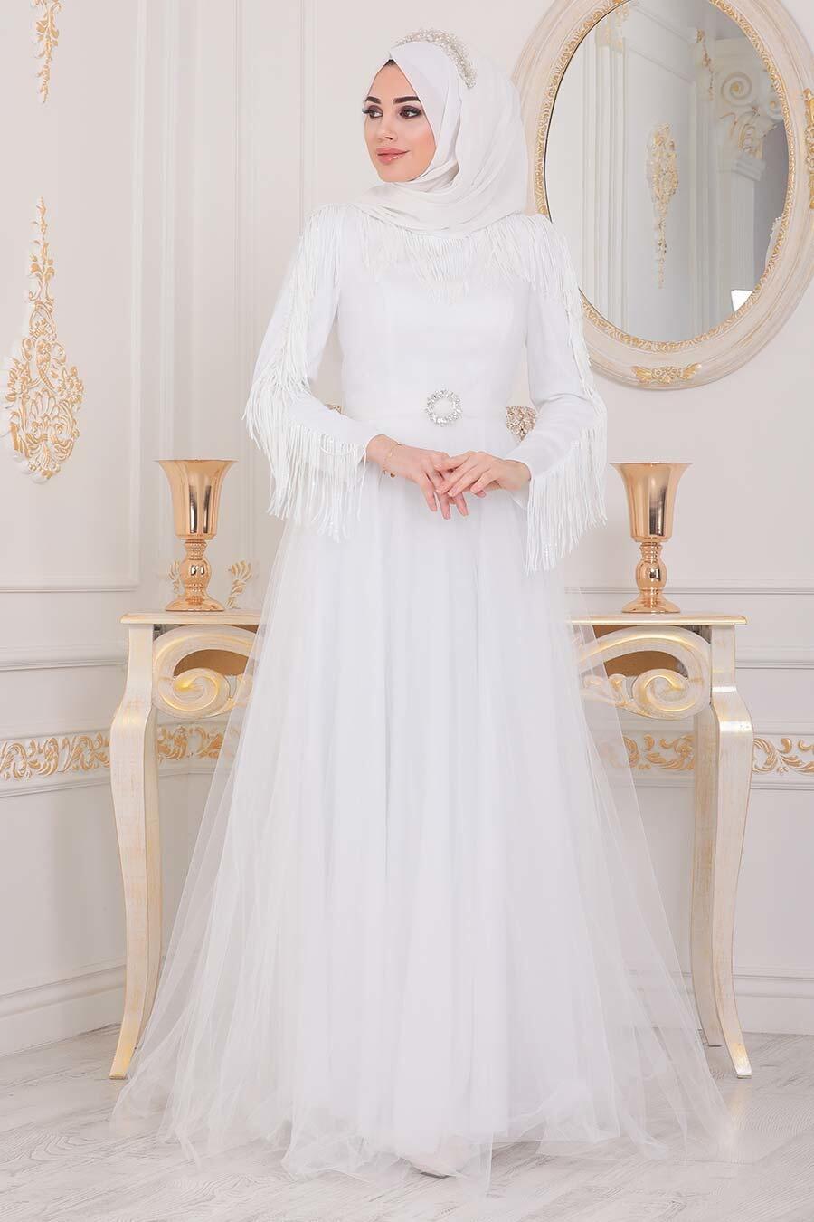 Tesettürlü Abiye Elbise - Püsküllü Beyaz Tesettür Abiye Elbise 40242B