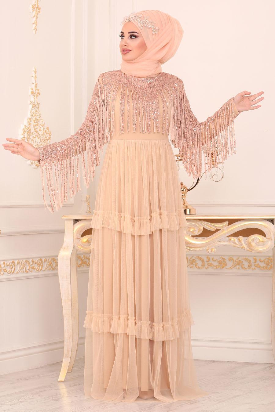 Tesettürlü Abiye Elbise - Püsküllü Gold Tesettürlü Abiye Elbise 8593GOLD