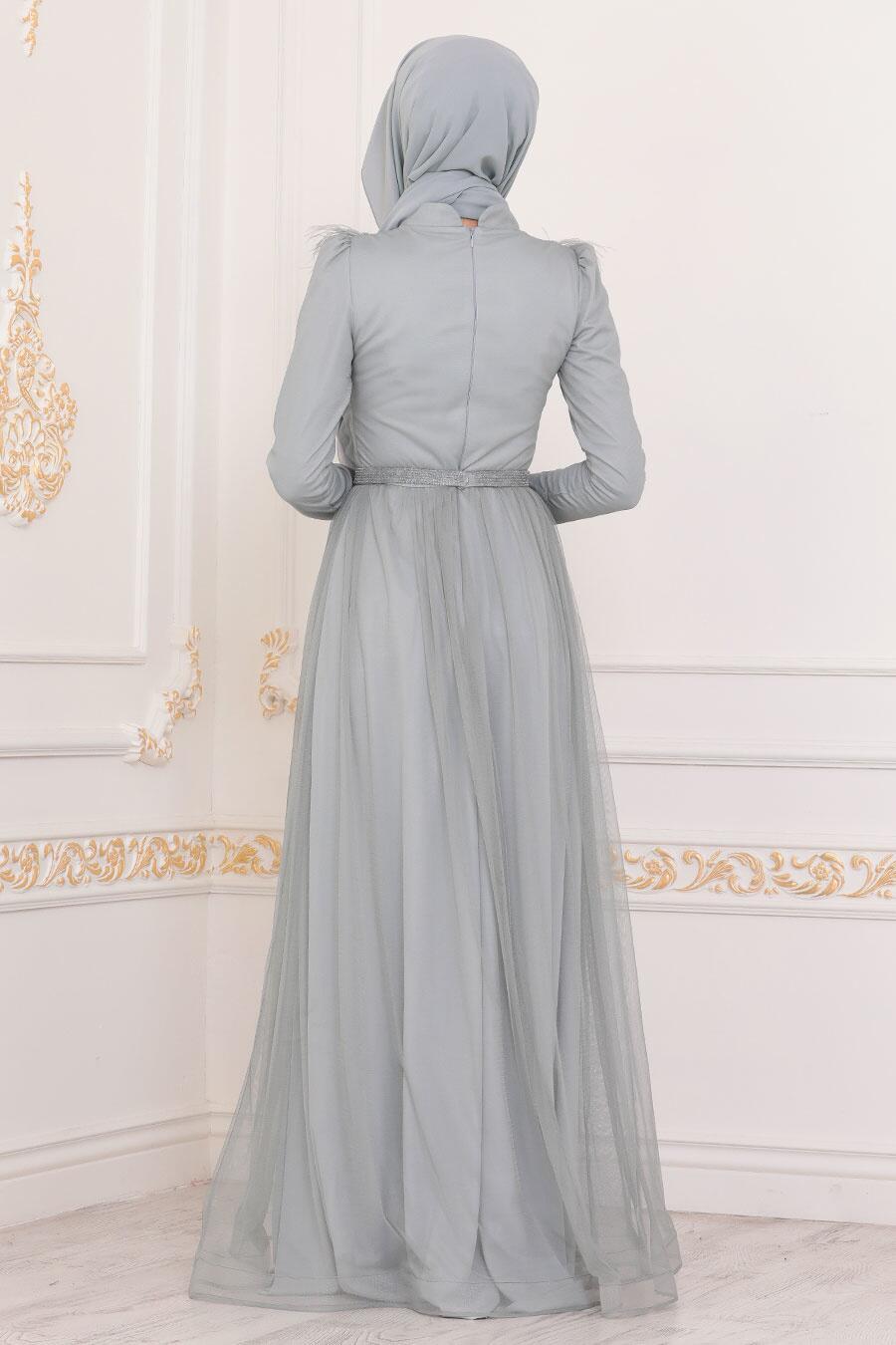 Tesettürlü Abiye Elbise - Püsküllü Mint Tesettür Abiye Elbise 3959MINT