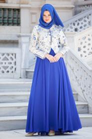 Tesettürlü Abiye Elbise - Sax Mavi Elbise - Thumbnail