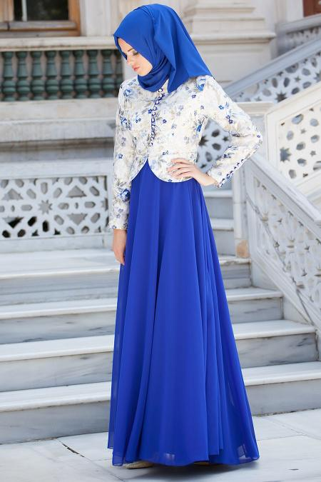 Tesettürlü Abiye Elbise - Sax Mavi Elbise